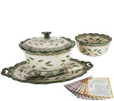 Temp-tations Old World 6-pc Serving Platter & Pedestal Bowl Set