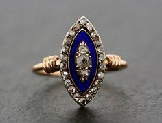 Antique Diamond Ring - Victorian Diamond & Enamel Navette Rose Gold Ring on Etsy, $943.23