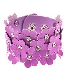 Purple Samantha Flower & Gem Snap Cuff #zulily #zulilyfinds