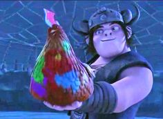 I love Tuffnut rainbow chicken it is sooo cute! And look at Snotlout face....!