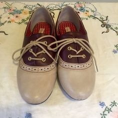 BAIT Footwear wine colored saddle shoes Selling these because they're simply too big. (I'm normally a 5). I wore them a few times so there are minor scuffs but still in super condition. Adorable with dresses or pants. Bait footwear Shoes Flats & Loafers