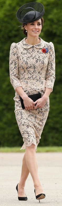 Kate Middleton: Hat – Sylvia Fletcher for Lock and Company  Dress = Alexander McQueen  Purse – Mulberry  Shoes – Gianvito Rossi