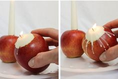 Apples candles made with floating candles/tea lights & taper candles for a table centerpiece or mantel display. Tips included for apple longevity. Floating Candles, Taper Candles, Caramel Apples, Candle Making, Table Centerpieces, A Table, Tea Lights, Party, Desserts