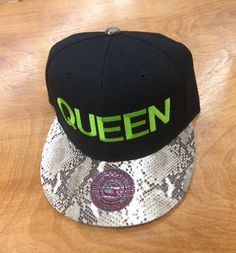 QUEEN. Snapback Hat Black and Faux Brown and Black Snake Skin Cap, Presale Item