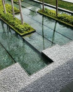 Water feature and gravel edging