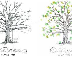 Hand Drawn Wedding Thumbprint Tree Guestbook