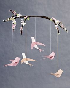 "Martha Stewart is still my love.. she's got this ""how to"" make a feminine pretty Bird Mobile to decorate a child's room or even a nursery.....OR A WEDDING!"