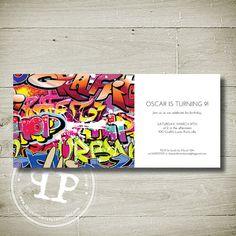 Stone's Birthday Invitation? GRAFFITI Custom Personalised Printable by theparchmentplace, $13.00