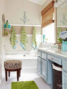 Colorful bathroom Vanity makeover