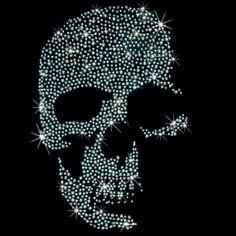 7x11  - SILVER SKULL - STUDS - Rhinestud, silver, silver skull, skull, studs, Material Transfer, Skulls