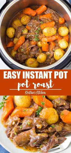 The BEST Instant Pot Pot Roast with potatoes, carrots and a flavorful gravy. The beef is melt in your mouth tender! This simple pot roast recipe is so easy to make in your pressure cooker, and is ready much quicker than cooking a roast on the stove Beef Recipe Instant Pot, Instant Pot Pot Roast, Instant Pot Dinner Recipes, Recipes Dinner, Instant Pot Easy Recipes, Game Recipes, Instant Pot Chinese Recipes, Dinner Ideas, Burger Recipes