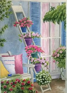 Advice For Home Decorating Excellence Watercolour Painting, Watercolor Flowers, Watercolours, Illustration Blume, Acrylic Painting Tutorials, Beautiful Paintings, Cute Art, Art Pictures, Garden Art
