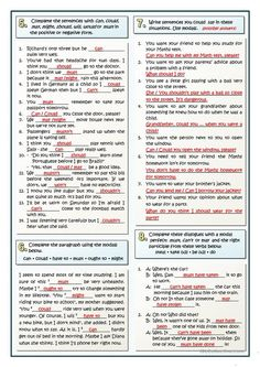 Eight different grammar exercises devoted to the learning of modals verbs, either simple modals or perfect modals, an essential content for students. English Grammar Tenses, Teaching English Grammar, English Grammar Worksheets, English Writing Skills, Grammar Lessons, English Language Learning, English Phrases, Learn English Words, English Vocabulary