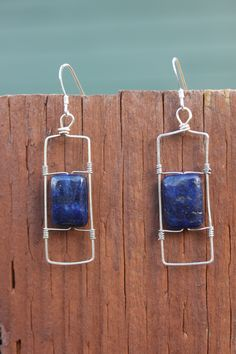 Hammered Sterling Silver and Lapiz Earrings, by Cindy Larson Accessories