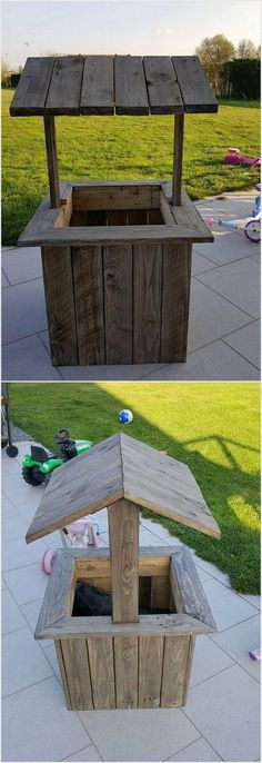In terms of there recycling the wood pallet in your garden this designing idea is best one for you. If you are creative enough then you can even think about designing it by your own self help. It is all set into the shape of the well style that looks so unique and creative for others. Try it now!