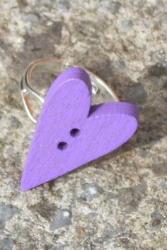 Hey, I found this really awesome Etsy listing at https://www.etsy.com/listing/227693649/purple-heart-ring-heart-ring-button-ring