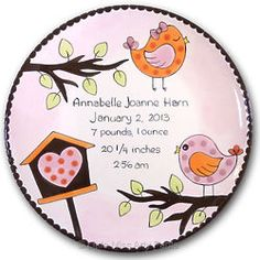 """Personalized Little Birdie 11"""" Birth Announcement/New Baby Plate"""