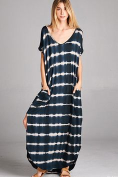 Abigail T-Shirt Maxi Dress - Black Tie-Dye - Find the perfect outfit for any occasion at ShopLuckyDuck.com