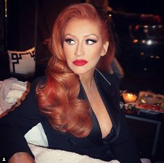 Pin for Later: Christina Aguilera Is Channeling Jessica Rabbit With Her New Hair Color Christina Aguilera Red Hair, Pin Up Hair, Copper Hair, Auburn Hair, Red Hair Color, Hair Colours, Red Hair And Red Lipstick, Color Red, Hair Transformation