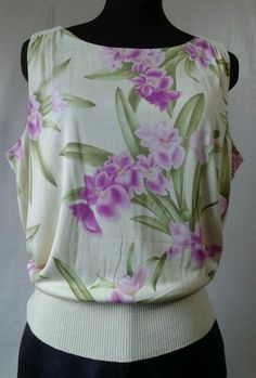 Womens large TOMMY BAHAMA sleeveless Silk Floral Top Lined 12/14 Pastel Yellow #TommyBahama #KnitTop