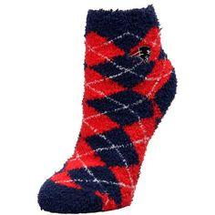 Womens New England Patriots For Bare Feet Argyle Sleepsoft Socks