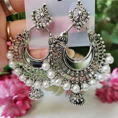 DM us to order. Mirror and white pearl earrings. Order now WhatsApp - 9810604969 Indian Jewelry Earrings, Indian Jewelry Sets, Jewelry Design Earrings, Silver Jewellery Indian, Ear Jewelry, Silver Jhumkas, Silver Jewelry, Sterling Jewelry, 925 Silver