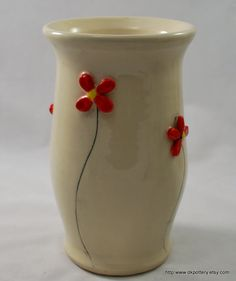 Large White Vase with Red and White Flowers
