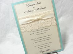 TIFFANY Lace Wedding Invitation with Knot by LavenderPaperie1