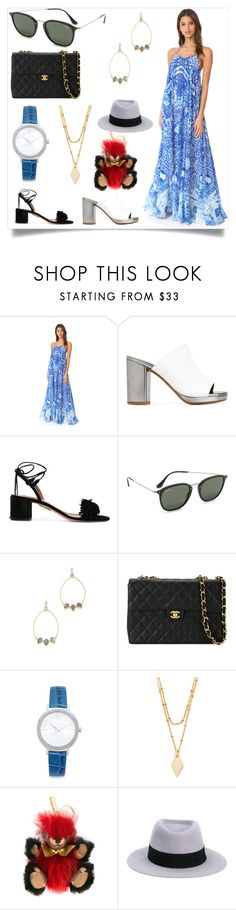 """Summer end time"" by mkrish ❤ liked on Polyvore featuring Rococo Sand, Robert Clergerie, Aquazzura, Ray-Ban, Atelier Mon, Chanel, Michael Kors, Vanessa Mooney, Burberry and Maison Michel"