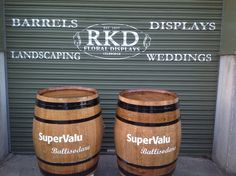 SuperValu Wine Barrels Branded By RKD Floral Displays Whiskey Barrels, Outdoor Flowers, Wedding Flowers, Indoor, Display, Landscape, Floral, Interior, Floor Space