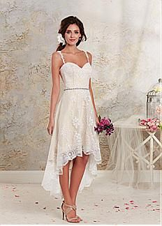 Glamorous Tulle Spaghetti Straps Neckline 2 In 1 Wedding Dress With Lace Appliques