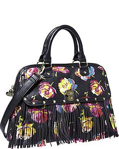 Betsey Johnson - FRINGEY FLORAL DOME SATCHEL OFF-WHITE