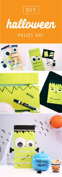 Do we have the perfect Halloween craft for you! This Easy DIY Frankenstein Pallet and Teal Pumpkin Project is the perfect balance of spooky inspiration with easy to achieve results. Display your DIY monster on your front porch for a dash of festive curb appeal—plus the trick-or-treaters will love it.