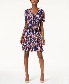 Ellen Tracy Printed Faux-Wrap Dress - Blue 12