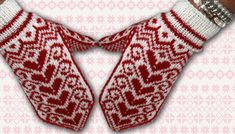 Ravelry: Flying Hearts Mittens pattern by Jorid Linvik Mittens Pattern, Knit Mittens, Mitten Gloves, Knitting Socks, Wrist Warmers, Hand Warmers, Knitting Charts, Knitting Patterns, Fingerless Mitts