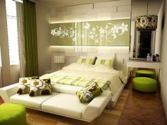 Tips For Beautiful Bedroom Wall Décor : Flowers Wall Decoration And Green Furniture In Modern Bedroom Interior Decorating Design Ideas Green Rooms, Bedroom Green, Bedroom Colors, Bedroom Wall, Bedroom Decor, Bedroom Ideas, Wall Decor, Bedroom Interiors, Bedroom Mint