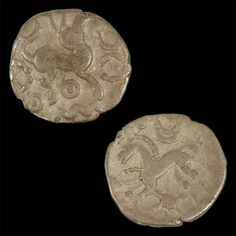 An Iron Age coin representing a silver half unit, dated to the 1st century BC. Both sides of the coin are shown, found during excavations at Kingsmead Quarry, Horton, England.