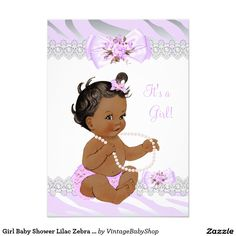 Girl Baby Shower Lilac Zebra Lace Ethnic 5x7 Paper Invitation Card