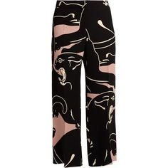 Valentino Panther-print cropped silk trousers (7.030 BRL) ❤ liked on Polyvore featuring pants, bottoms, trousers, black pink, flared cropped pants, pink pants, flare pants, pleated wide leg pants and silk wide leg pants