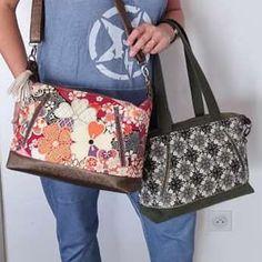 Duo de sacs Java en simili et fleurs cousus par Sylvie - Patron Sacôtin