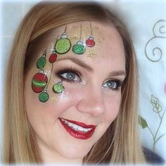 Christmas face painting idea, Lisa Joy Young - for grown ups too! Diy Maquillage, Maquillage Halloween, Face Painting Designs, Paint Designs, Tinta Facial, Christmas Face Painting, Christmas Face Paint Ideas, Cheek Art, Christmas Makeup Look