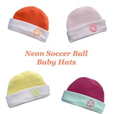 5b46696e10b Neon Soccer Ball Baby Hats 4 Colors Our adorable unisex soccer hats are  made with 100