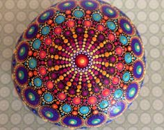 Mandala Stone Hand-Painted Diamond Dawn by ChelseyLakeArt on Etsy