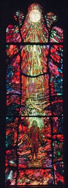Traherne window in Hereford Cathedral. Based on 17th century Hereford poet Thomas Traherne (1637-74). The theme the landscape as the body of God. It is the work of Tom Denny and was installed in March 2007 in Hereford Cathedral. Photo by Robin Croft