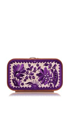 Shop Floral Brocade Embroidered In Cream & Bordeaux. This clutch by **Katrin Langer** features a floral brocade embroidered body and finished with a wooden frame. Jeweled Shoes, Red Handbag, Clutch Purse, Purses And Handbags, Wedding Shoes, Fashion Bags, Zip Around Wallet, Summer 2015, Spring Summer
