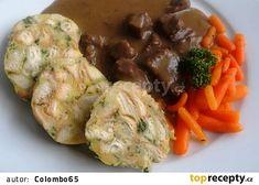 Hovězí kostky na česneku s baby karotkou Mashed Potatoes, Shrimp, Meat, Chicken, Ethnic Recipes, Whipped Potatoes, Smash Potatoes, Buffalo Chicken, Shredded Potatoes