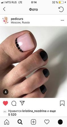 Pink nails with black/pink accent nail, pink w black tip French on toes - toe nails - Toe Nail Color, Toe Nail Art, Nail Colors, Pretty Toe Nails, Cute Toe Nails, Black Toe Nails, Pink Nails, My Nails, Pedicure Nail Art