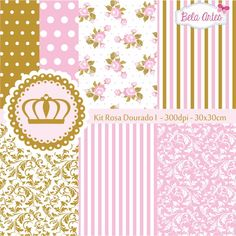 Kit Papel Digital Rosa Dourado I