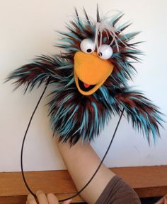 Bird Puppet Blue Stripe RESERVED by banjopuppets on Etsy