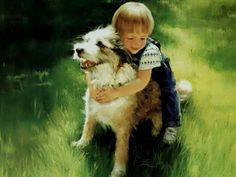 I Love Donald Zolan's paintings- love this little boy with his dog